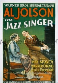 1001 JAZZ SINGER linenbacked one-sheet movie poster '27 Al Jolson, first talkie!