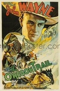 JW 114 OREGON TRAIL linen one-sheet movie poster '36 best John Wayne image!