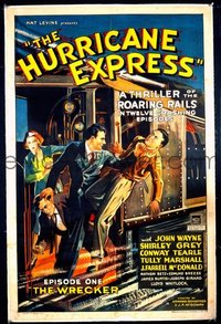 JW 018 HURRICANE EXPRESS ch1 linen one-sheet movie poster '32 John Wayne serial