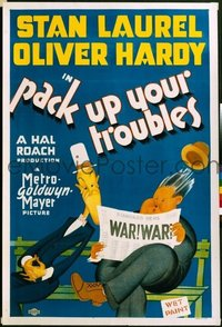 #169 PACK UP YOUR TROUBLES one-sheet movie poster '32 Laurel & Hardy!!