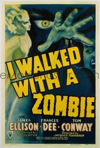 VHP7 096 I WALKED WITH A ZOMBIE linen one-sheet movie poster '43 Jacques Tourneur