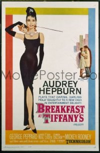 #341 BREAKFAST AT TIFFANY'S linen one-sheet movie poster '61 Audrey Hepburn!