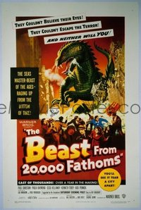 1020 BEAST FROM 20,000 FATHOMS linenbacked one-sheet movie poster '53 Ray Bradbury