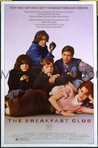 #414 BREAKFAST CLUB one-sheet movie poster '85 John Hughes, cult classic!!