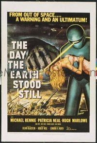 #276 DAY THE EARTH STOOD STILL linen one-sheet movie poster '51 classic!!