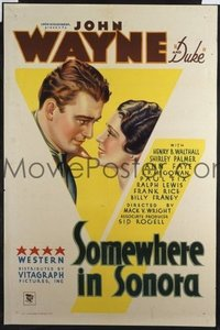 JW 050 SOMEWHERE IN SONORA one-sheet movie poster '33 great design & art!