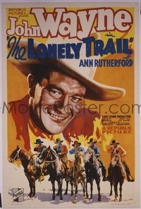 JW 117 LONELY TRAIL one-sheet movie poster '36 most classic John Wayne image!