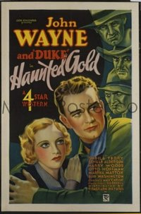 JW 028 HAUNTED GOLD one-sheet movie poster '32 great John Wayne stone litho!
