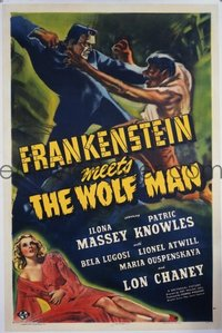 VHP7 088 FRANKENSTEIN MEETS THE WOLF MAN linen one-sheet movie poster '43 Chaney