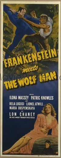 #002 FRANKENSTEIN MEETS THE WOLF MAN insert movie poster '43 Lugosi!