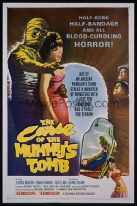 CURSE OF THE MUMMY'S TOMB linen 1sh '64 half-bone, half-bandage, all blood-curdling horror!