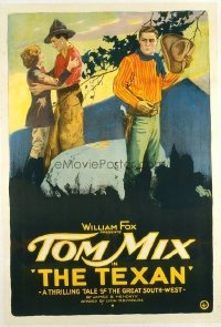 t183 TEXAN linen one-sheet movie poster '20 Tom Mix, great stone litho!