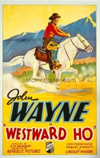JW 106 WESTWARD HO linen one-sheet movie poster '35 John Wayne on horseback!