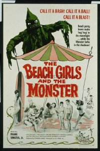v056 BEACH GIRLS & THE MONSTER  1sh '65 wacky monster!