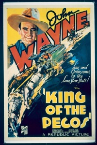 JW 116 KING OF THE PECOS linen one-sheet movie poster '36 great Wayne art!