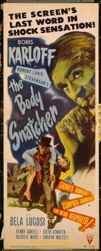 #202 BODY SNATCHER insert movie poster '45 Boris Karloff, Bela Lugosi!
