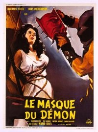 #346 BLACK SUNDAY linen French movie poster '61 terrifying image!!