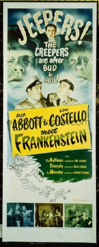 #005 ABBOTT & COSTELLO MEET FRANKENSTEIN insert movie poster R56!