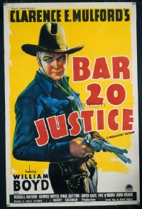 VHP7 032 BAR 20 JUSTICE linen one-sheet movie poster '38 best Hoppy image ever!