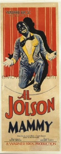 1002 MAMMY linenbacked insert movie poster '30 great blackface Jolson image!