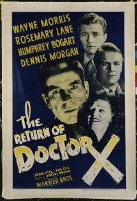 1055 RETURN OF DOCTOR X linenbacked one-sheet movie poster '39 wild Bogart horror!
